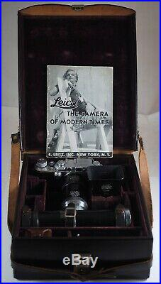 1935 LEICA IIIa, 5cm SUMMAR f/2 + HOOD, 5 EXT. TUBES, LIT + PREWAR OUTFIT CASE