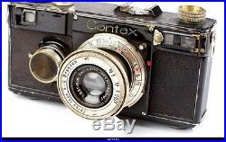Camera Zeiss Ikon Contax I Black Lens Black Nickel Tessar 3.5/5cm Parts #A20318