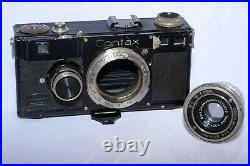 Classic Zeiss Contax I 35mm rangefinder camera with 5cm f3.5 Tessar lens. AS-IS