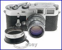 DS LEICA M3 FILM 35mm CAMERA WITH SERVICED SUMMICRON 12/50mm RIGID CHROME LENS