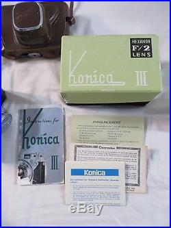 KONICA III 35MM RANGE FINDER CAMERA HEXANON LENS 12 F=48mm BOX PAPERWORK LOT