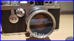 LEICA 35mm IIIg LEITZ M39 SCREW MOUNT CAMERA W SUMMICRON 12/50mm COATED LENS 3G