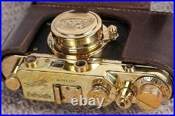 Leica Film camera, rangefinder Lens Elmar f3.5/50mm GOLD Vintage (Fed Copy)