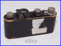 Leica I (A) vintage camera. Circa 1929. Elmar 50mm f/3.5 nickel lens. Hood, Cap