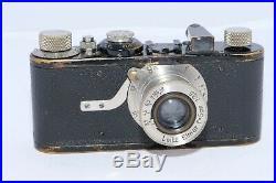 Leica I (A) vintage camera. Circa 1930. Elmar 50mm f/3.5 nickel lens. Hood