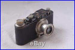 Leica II Screw Mount Black Camera Body with 50mm f/3.5 Elmar Nickel Lens Leica D
