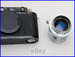 Leica III Black With Excell++ Summitar 5cm 50mm 12 Lens Eveready Case