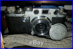 Leica IIIf Black Dial 35mm Camera Nr. 595615 Ernst Leitz Wetzlar Germany w Extras