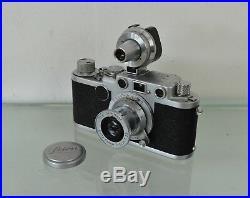 Leica IIf camera + Leitz Elmar f=5cm 13.5cm lens + Wetzlar viewfinder + case