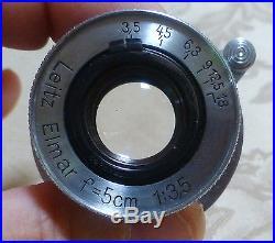 Leica Leitz Elmar f=5cm (50mm) 13.5 SM Lens S/N 597036 from 1945 Wetzlar