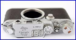 Leitz Leica IIIf, vintage 35mm camera + 3x lens Elmar 35 50 90 mm + viewfinder