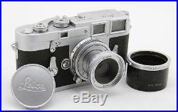 Leitz Leica M3 vintage double stroke camera & Elmar 5cm / 50mm 13.5 lens + case
