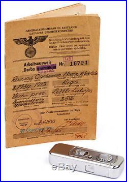 Minox Riga Nr. 03763 (Bj. 1938) + ARBEITSAUSWEIS der VEF Buchhalterin UNIKAT