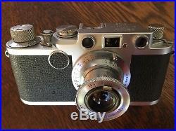 Nice LEICA IIf 1953 Vintage No. 652420 with Leitz ELMAR 13.5 Lens & Case