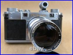 Nikon M Synch RF camera with 13.5cm f/4 Nikkor Nippon Kogaku Tokyo # 90439 RARE
