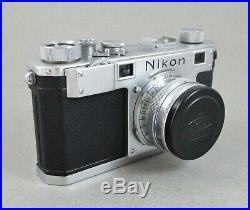 Nikon S 35mm Rangefinder Film Camera with Nikkor H. C 50mm 5cm f/2 Lens, CLEAN