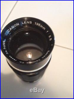 Old Vintage Canon 7 S Camera with Canon Lens 50 & 135mm VOSS 75mm & Old Cases