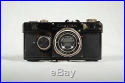 RARE-Zeiss Ikon Contax If-AG Dresen Carl Zeiss Jena Tessar 5cm f/2.8-Case-Cap