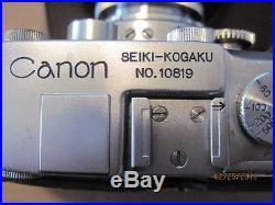 SUPER RARE VINTAGE CANON SEIKI-KOGAKU S RANGEFINDER CAMERA withNikkor 5cm f3.5
