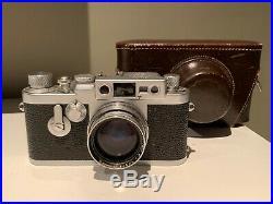 VINTAGE LEICA RANGEFINDER CAMERA IIIg Body + Summitar 5cm 12 Lens 50mm + Case