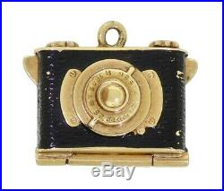 VTG 14K Yellow Gold Articulated Rangefinder Camera Photo Locket Bracelet Charm
