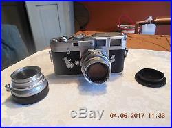 VTG. 1960 LEICA M3 Camera withTWO LEITZ SUMMICRON LENSE. 1 2/50 Lens & 13.5 Len