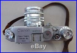 Vintage Canon IID IVSR Rangefinder Camera Japan + 50 mm Lens, Manual & Case