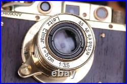 Vintage Film Leica camera rangefinder DRP Lens Elmar f3.5/50mm GOLD (Fed Copy)
