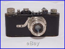 Vintage Leica A camera, Elmar 50mm f/3.5 nickel lens. FODIS rangefinder. ABLOON