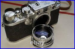 Vintage Leica IIIC Rangefinder 35mm camera + Extras 5cm f2 Summitar lens Germany