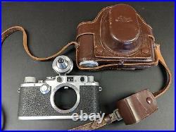 Vintage Leica IIIF 35mm film rangefinder camera M39, Universal Viewfinder + Case