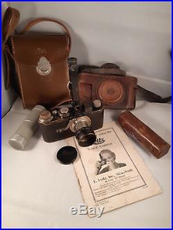 Vintage Leitz Leica Ia 35mm Camera, Cases, Rangefinder FODIS, Lens Hood FISON