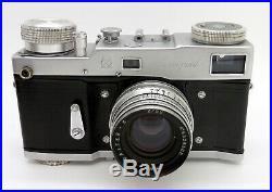 Vintage Leningrad 35mm Rangefinder Camera Jupiter 8 50mm F2 Lens & Case #4040