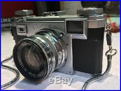 Vintage Zeiss Contax II 35mm Camera With Sonnar 12 Lens & Pouch Circa 1930-40's