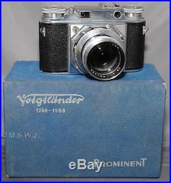 Voigtlander Prominent with Nokton 1.5/50 Lens Original Box parts/repair JC