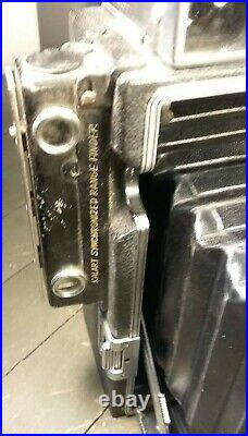Vtg CROWN GRAPHIC 4x5 Camera, KALART Range Finder, KODAK ECTAR F4.7 127mm Lens