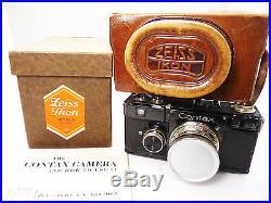 ZEISS CONTAX CAMERA 1 e Ie black SONNAR 2 C1934 BOX CAP case Instruction 3503