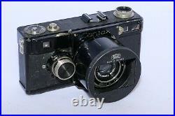 Zeiss Contax I 35mm rangefinder camera. Tessar 5cm f3.5 lens. Hood. Just CLA'd