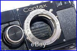 Zeiss Contax I (E) 35mm film rangefinder camera with 5cm f2.8 Tessar lens withhood